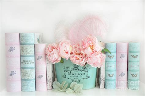 shabby chic book dreamy shabby chic peonies books print pink teal