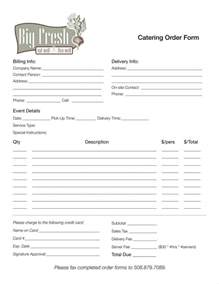 Catering Order Form Template Free 8 catering order form free sles exles