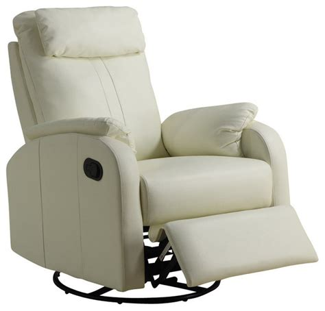 swivel recliner chairs contemporary monarch specialties swivel rocker recliner chair in ivory