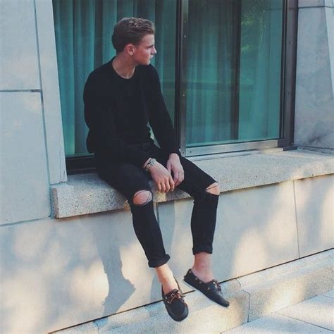 Ripped Cut Out Navy topman black cut out sammy dress navy boat shoes asos knit sweater