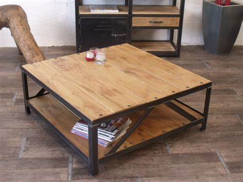 Table Basse Carrç E Bois Table Basse Carr 233 Industrielle Bois M 233 Tal Bois Metal