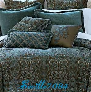 6p full chris madden avondale teal blue brown comforter