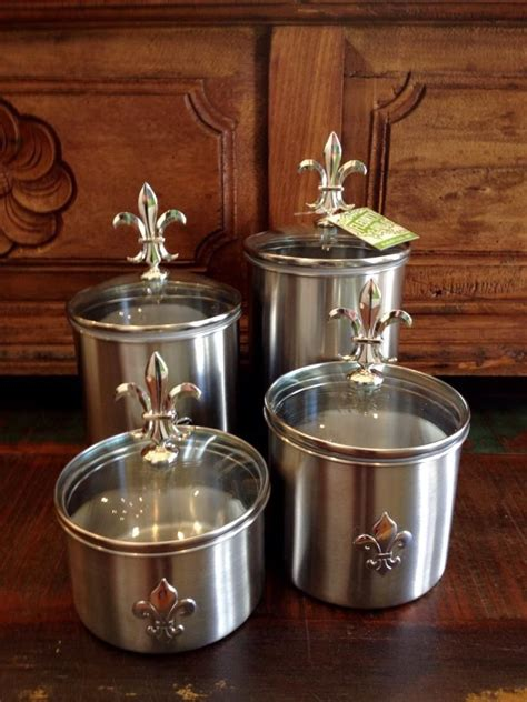 stainless steel fleur de lis finials canister set kitchen 4pc tuscan silver new ebay fleurty girl everything new orleans metal fleur de lis