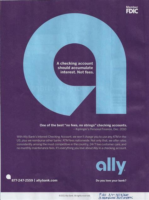 bank ally ally bank free checking magazine ad free checking
