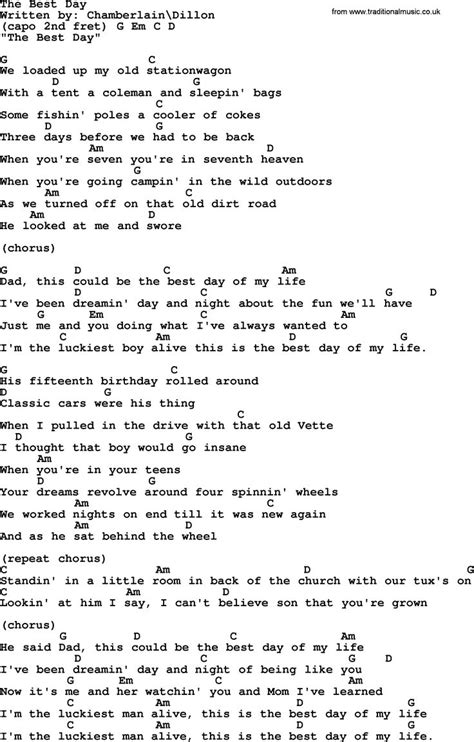The Chair George Strait Lyrics by George Strait Song The Best Day Lyrics And Chords