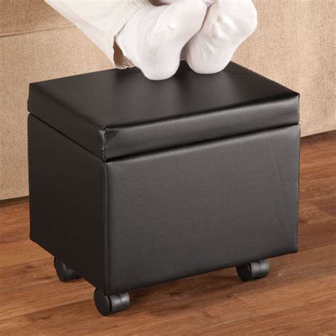 Storage Ottoman On Wheels Wheeled Storage Ottoman Table Top Bench Portable Footstool Side Pouch Seat Black Ebay