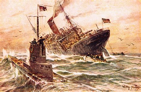 atlantic u boat caign ww1 illustration of submarine warfare in world war i by willy