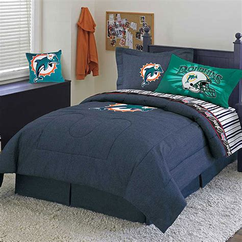 miami dolphins nfl team denim queen comforter sheet set