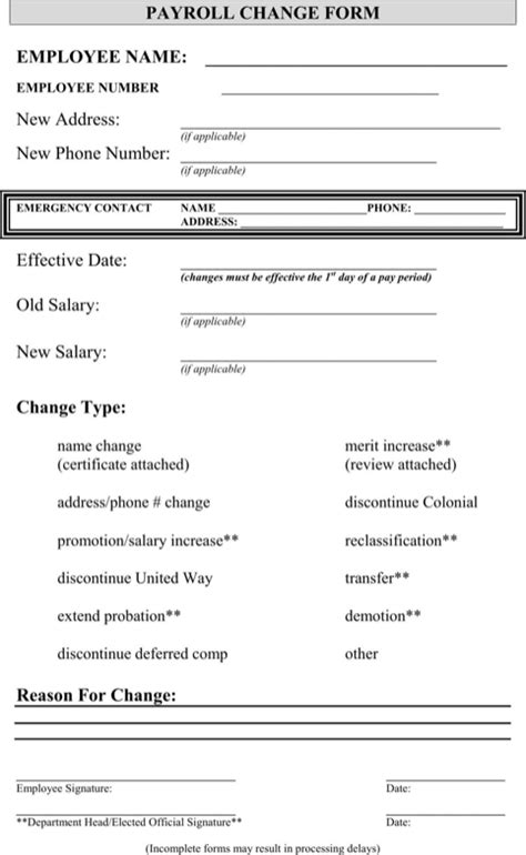 Payroll Change Form Templates Forms Pinterest Sle Resume Payroll Template And Resume Free Employee Status Change Form Template
