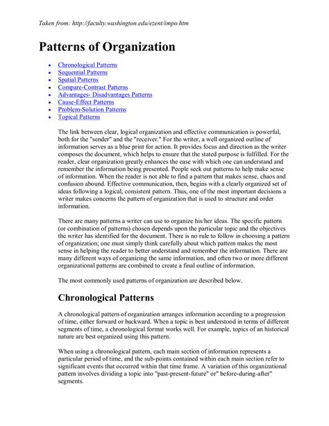 what pattern of organization describes a shift in time exles on how to write a topic outline