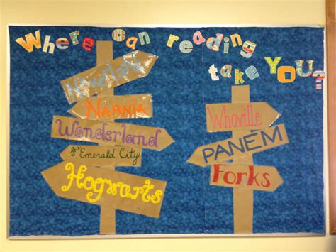 themes a book can have where reading takes you library bulletin board idea