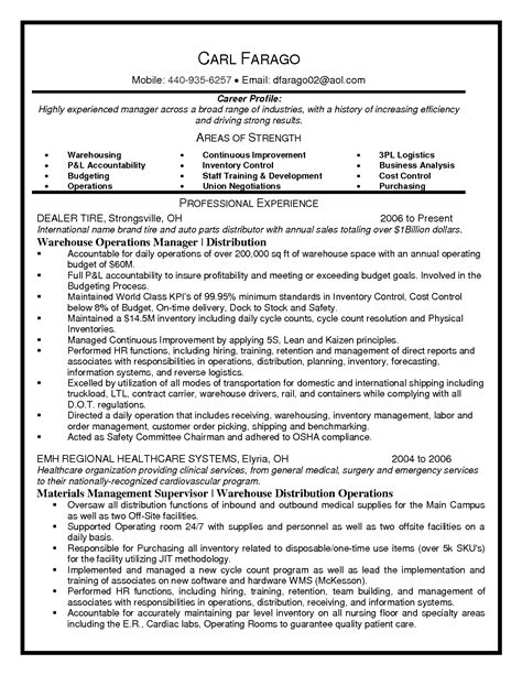 Resume Sles Warehouse Operations Manager Warehouse Supervisor Resume Sle Best Template Collection