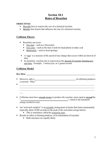 Worksheet Reaction Rates Key