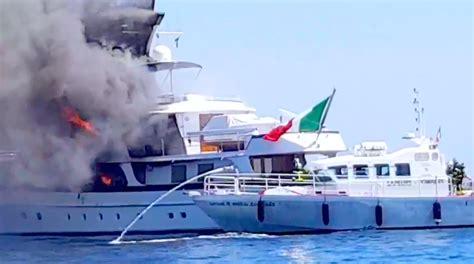 italian fire boat diana bracco s yacht on fire off nice
