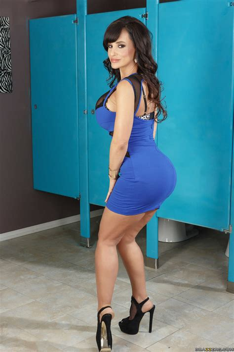 Dress Lysa in a tight blue dress at the restroom