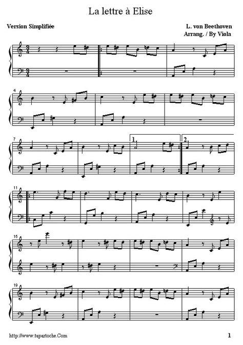 Lettre a elise partition piano facile … | partition en 2019…