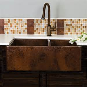 farmhouse duet copper kitchen bowled apron sink