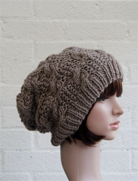 knitting beanie chunky knit cable beanie in walnut slouchy beanie knitted