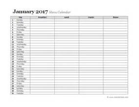 monthly planning calendar template 2017 monthly menu planner free printable templates