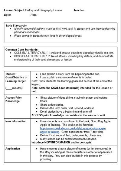Dog Training Lesson Plan Template Training Lesson Plan Template Dazzleshots Template Common State Standards Lesson Plan Template