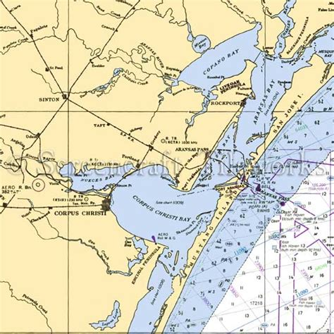 corpus christi nautical chart decor