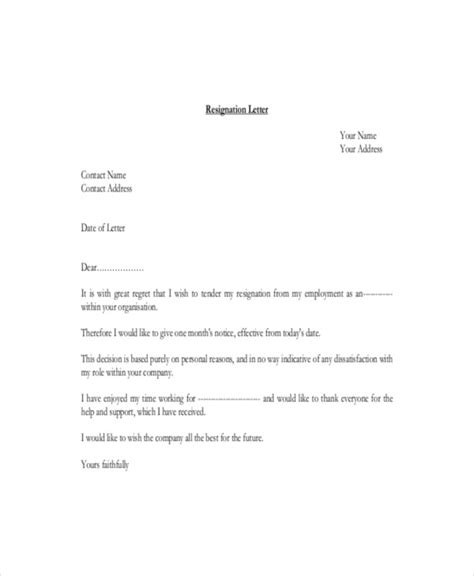 Sle Of Resignation Letter For Personal Reasons by 26 Simple Resignation Letters Free Premium Templates