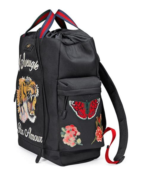 Embroidered Drawstring gucci embroidered drawstring backpack black