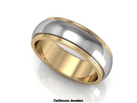 Wedding Bands In Philadelphia by Two Tone Raised Wedding Band From Desimone Jewelers In