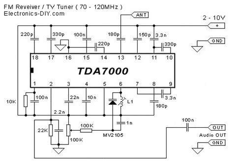 tv tuner card circuit diagram tda7000 fm receiver tv tuner