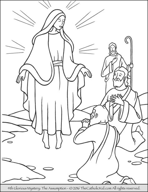angels shepherds gloria coloring page thecahtolickid the 4th glorious mystery coloring page the assumption