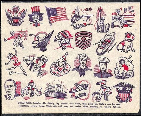tattoo paper national bookstore tattoos penny store tat sheet 1940s homefront wwii era uncle