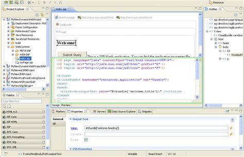 design html page using eclipse web application development using the web page editor