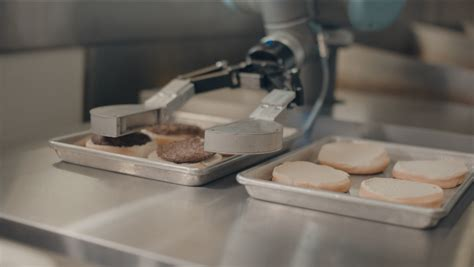 burger flipping robot  grill meat   fast food