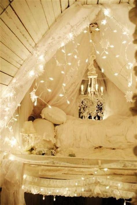 White Loft Bed Via Tumblr Image 950040 By Awesomeguy White String Lights For Bedroom