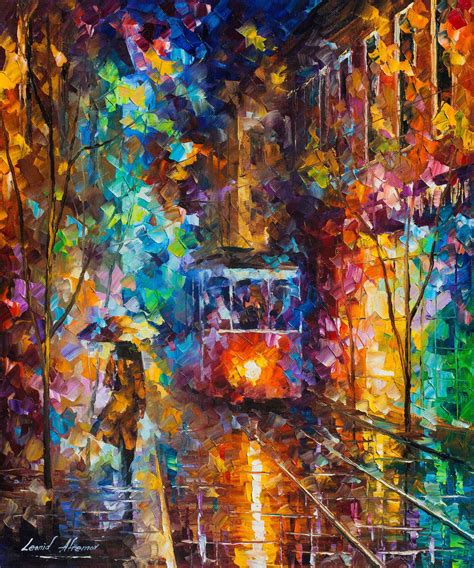 famous wall paintings evening trolley palette knife oil painting wall art