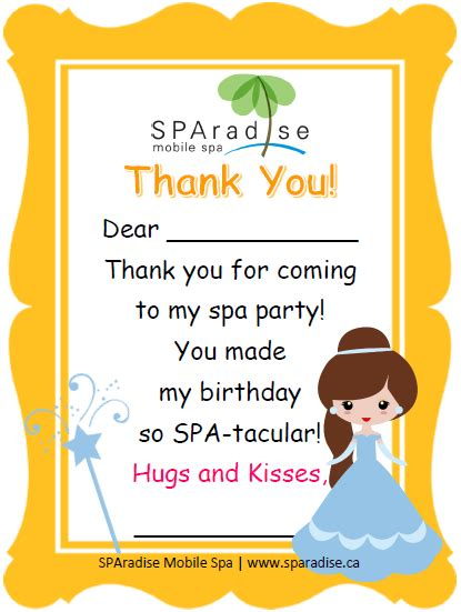 Salon Thank You Card Template by Thank You Cards Sparadise Mobile Spa Inc Vancouver