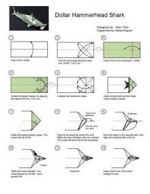 How To Make A Origami Shark Easy - hammerhead shark diagram 1 of 2 money dollar origami