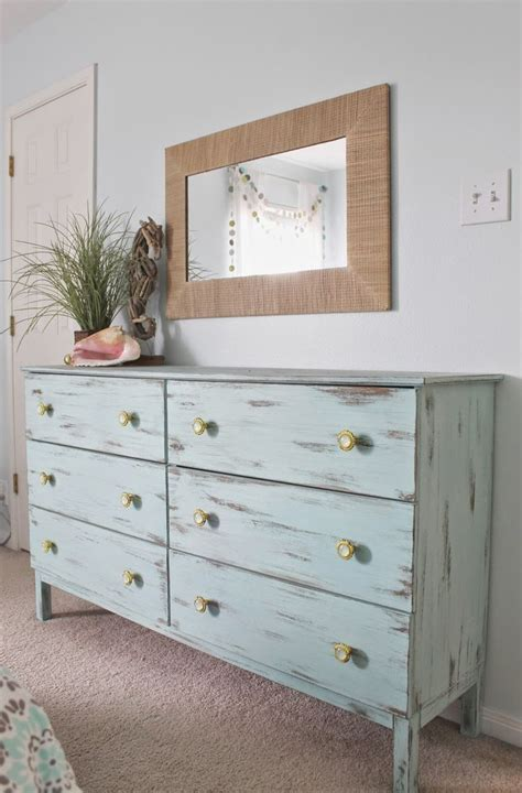 distressed painted bedroom furniture beach themed bedroom aqua painted unfinished dresser from