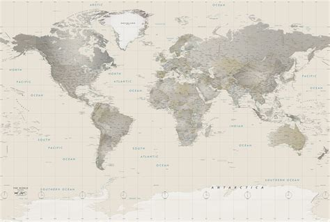 map of the world wall mural neutral tones world political map mural