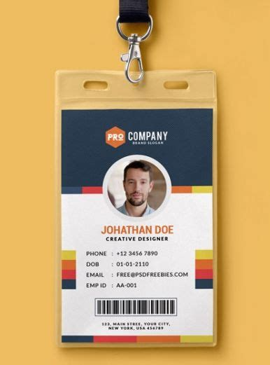 Press Id Card Template Psd by 10 Free Employee Id Card Design Templates Mockups