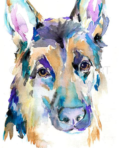 animal painting free german shepherd watercolor print watercolor painting