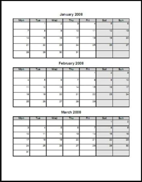 printable calendar first quarter 2016 print 2008 calendar four pages quarterly ask the