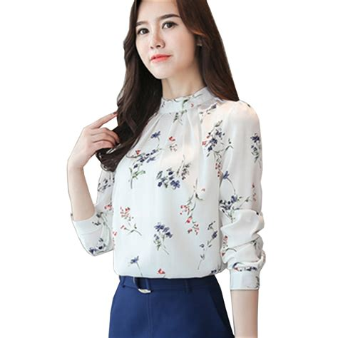 Blouse Flowery new style shirt formal work blouse korean floral printed shirts stand neck chiffon