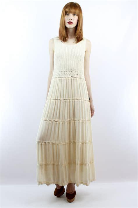 Bohemian Maxi Dress Boho Hippies Hippie Vintage Retro 1 vintage 90s crochet maxi dress s m vintage hippie by shopebv wedding dresses bridal