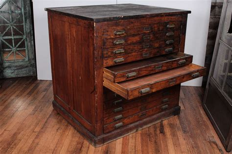 Vintage Printers Cabinet by Antique Oak Printer S Flat File Cabinet At 1stdibs