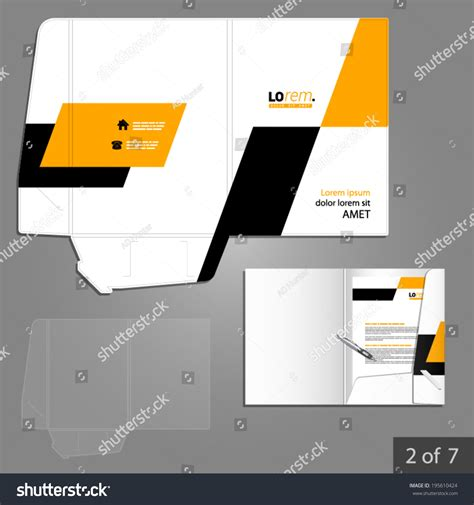 geometric folder template design for company with yellow