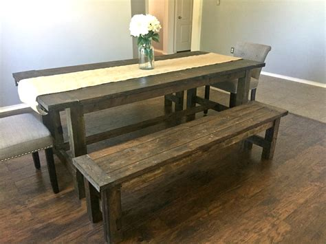Ana White Farmhouse Dining Room Table With Benches Dining Room Table And Benches