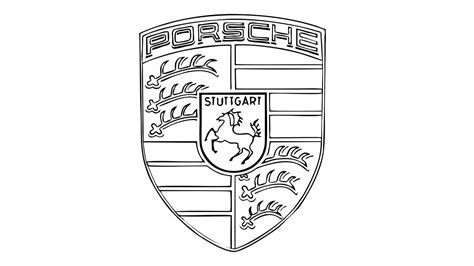 porsche logo black and white how to draw the porsche logo symbol emblem
