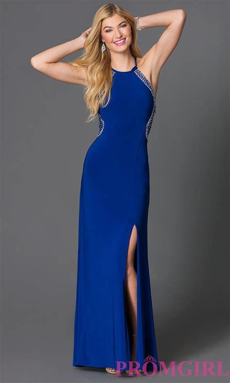 Dress Blue floor length sheer back blue dress promgirl