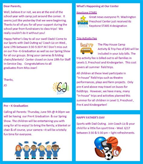sle preschool newsletter 8 free download for word pdf